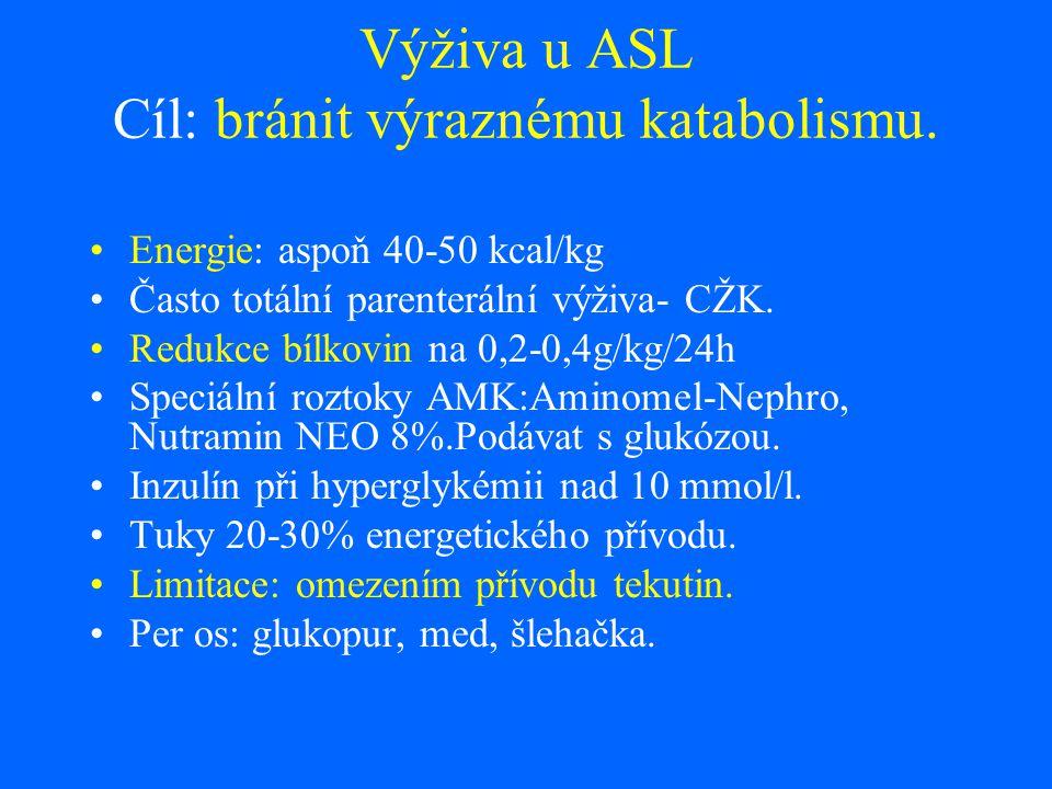 Výživa u ASL Cíl: bránit výraznému katabolismu. Energie: aspoň 40-50 kcal/kg Často totální parenterální výživa- CŽK. Redukce bílkovin na 0,2-0,4g/kg/2