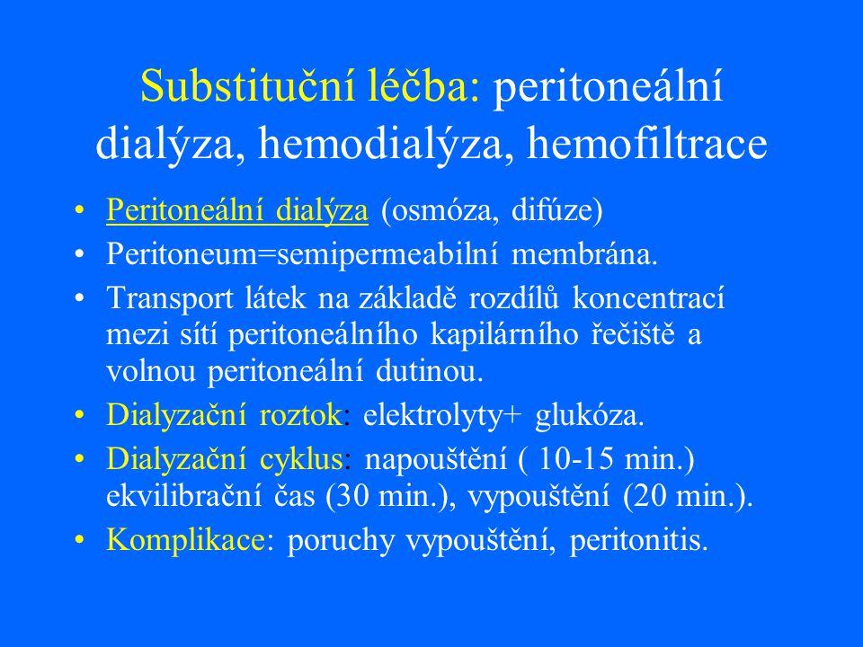 Substituční léčba: peritoneální dialýza, hemodialýza, hemofiltrace Peritoneální dialýza (osmóza, difúze) Peritoneum=semipermeabilní membrána. Transpor