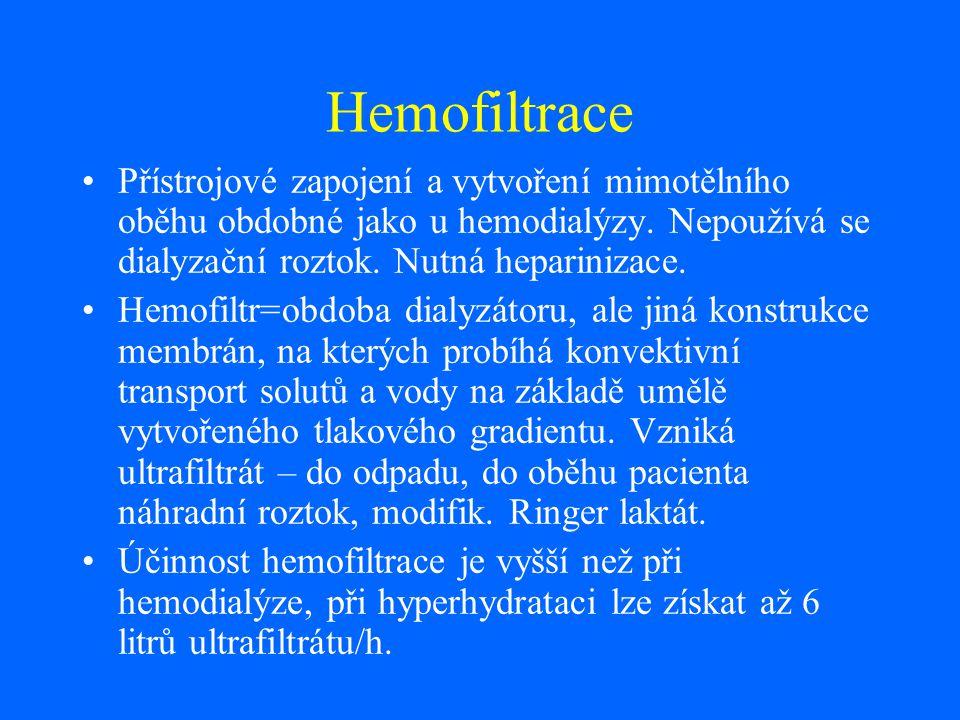 Hemofiltrace Přístrojové zapojení a vytvoření mimotělního oběhu obdobné jako u hemodialýzy. Nepoužívá se dialyzační roztok. Nutná heparinizace. Hemofi