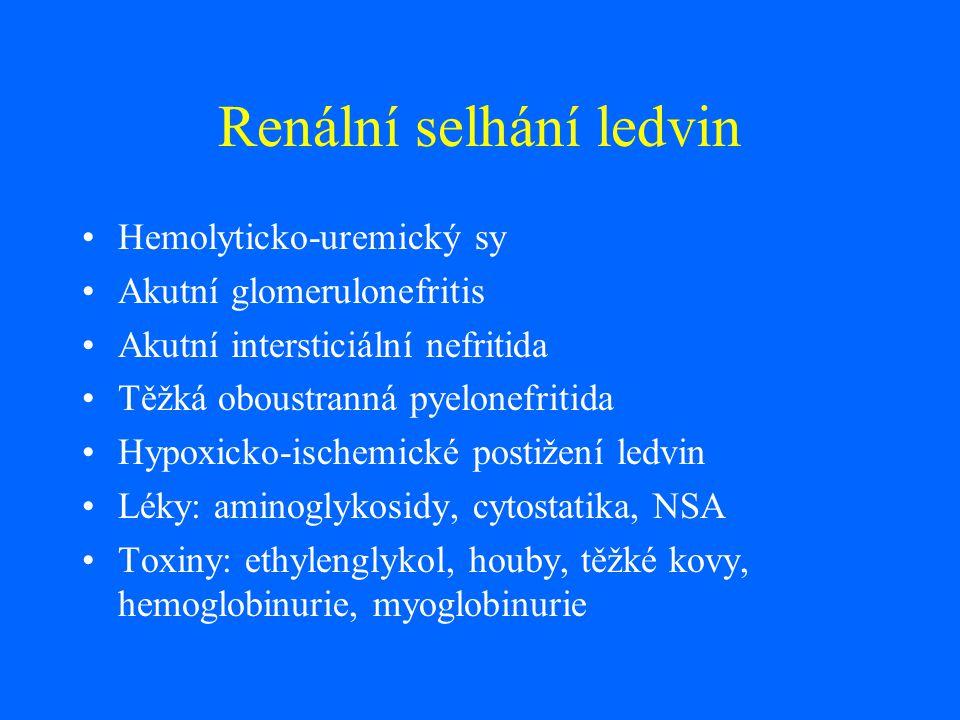Renální selhání ledvin Hemolyticko-uremický sy Akutní glomerulonefritis Akutní intersticiální nefritida Těžká oboustranná pyelonefritida Hypoxicko-isc