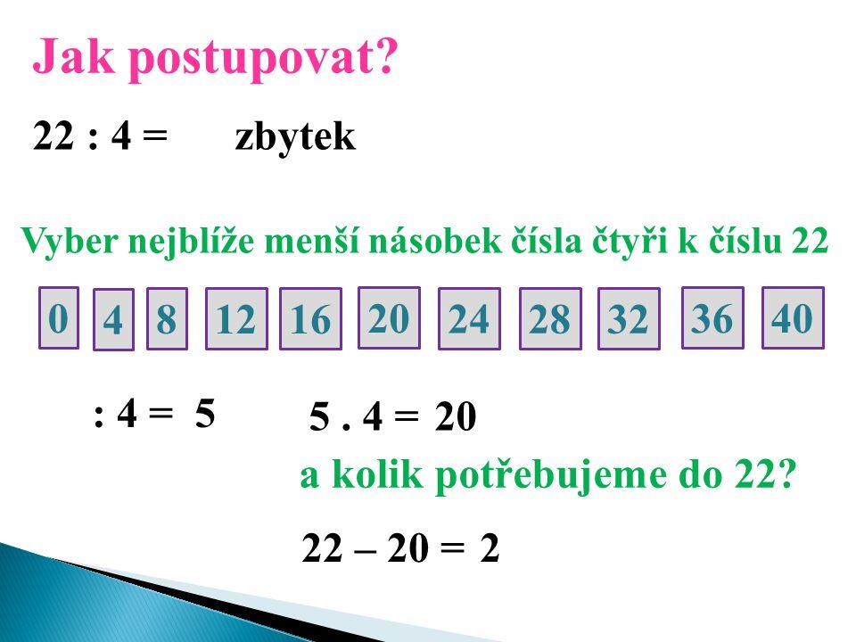 Jak postupovat? 22 : 4 = Vyber nejblíže menší násobek čísla čtyři k číslu 22 400 4 20 8 24 12 28 16 32 36 : 4 = 5 5. 4 =20 a kolik potřebujeme do 22?