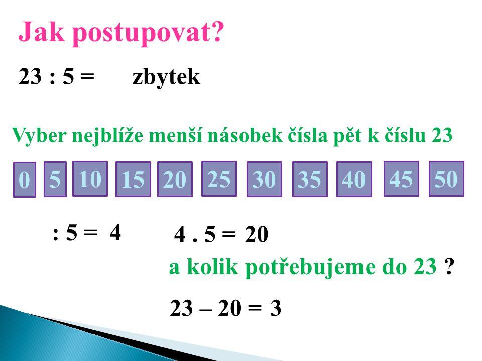Jak postupovat? 23 : 5 = Vyber nejblíže menší násobek čísla pět k číslu 23 50 0 5 2510 30 15 35 20 40 45 : 5 = 4 4. 5 =20 a kolik potřebujeme do 23 ?