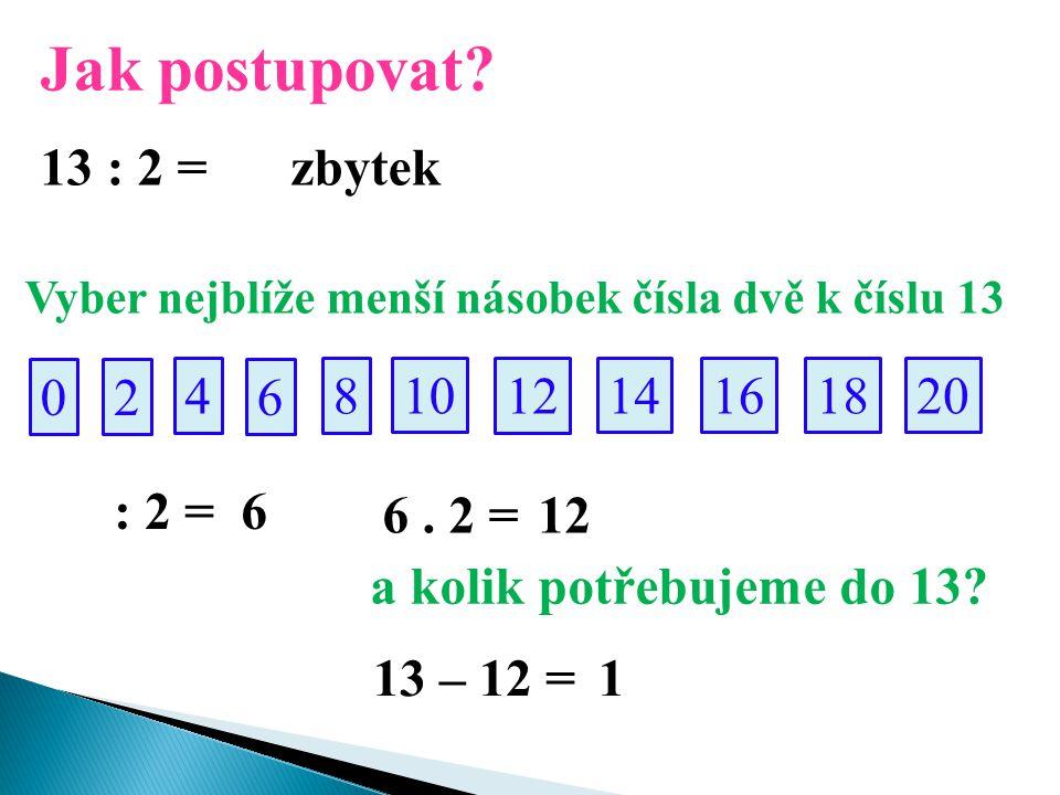 Jak postupovat? 13 : 2 = Vyber nejblíže menší násobek čísla dvě k číslu 13 02 10 4 14 8 161820 12 6 : 2 = 6 6. 2 =12 a kolik potřebujeme do 13? 13 – 1
