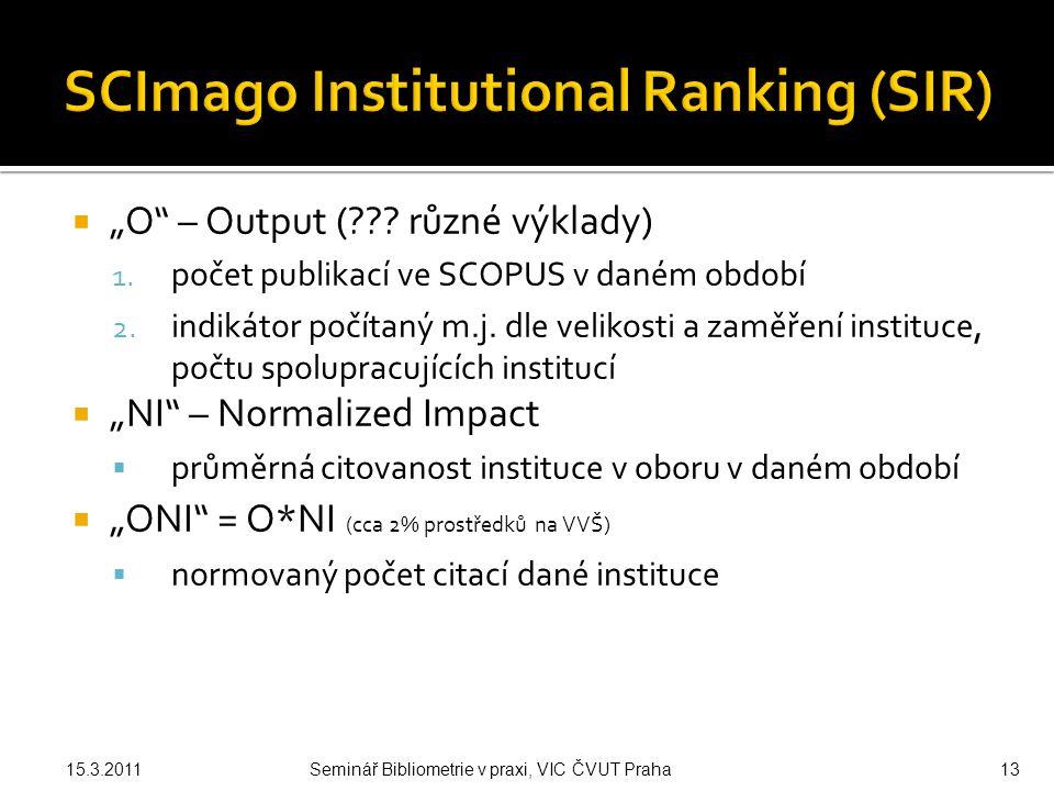 """ """"O – Output ( . různé výklady) 1. počet publikací ve SCOPUS v daném období 2."""