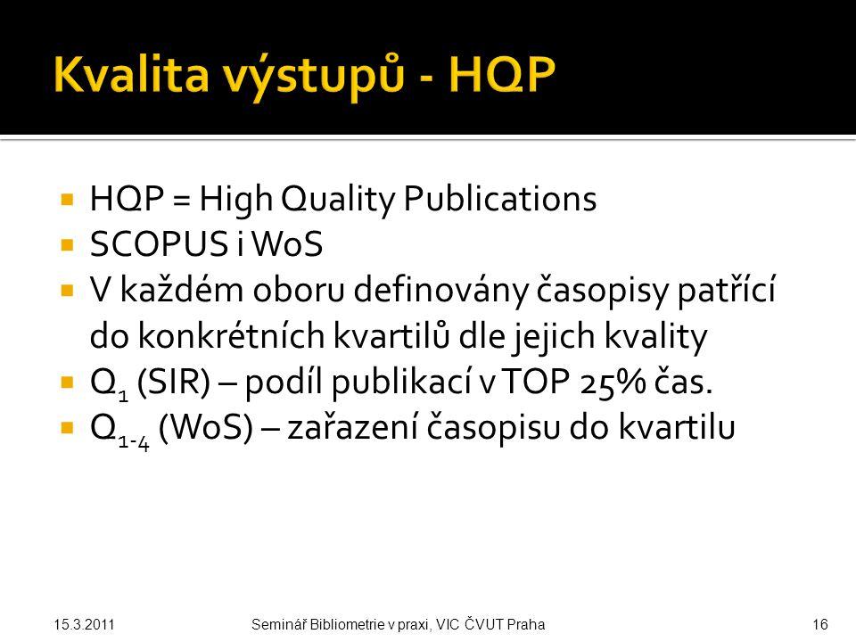  HQP = High Quality Publications  SCOPUS i WoS  V každém oboru definovány časopisy patřící do konkrétních kvartilů dle jejich kvality  Q 1 (SIR) – podíl publikací v TOP 25% čas.