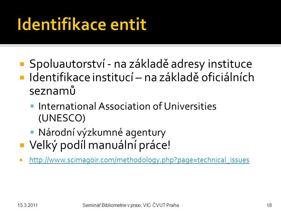  Spoluautorství - na základě adresy instituce  Identifikace institucí – na základě oficiálních seznamů  International Association of Universities (UNESCO)  Národní výzkumné agentury  Velký podíl manuální práce.
