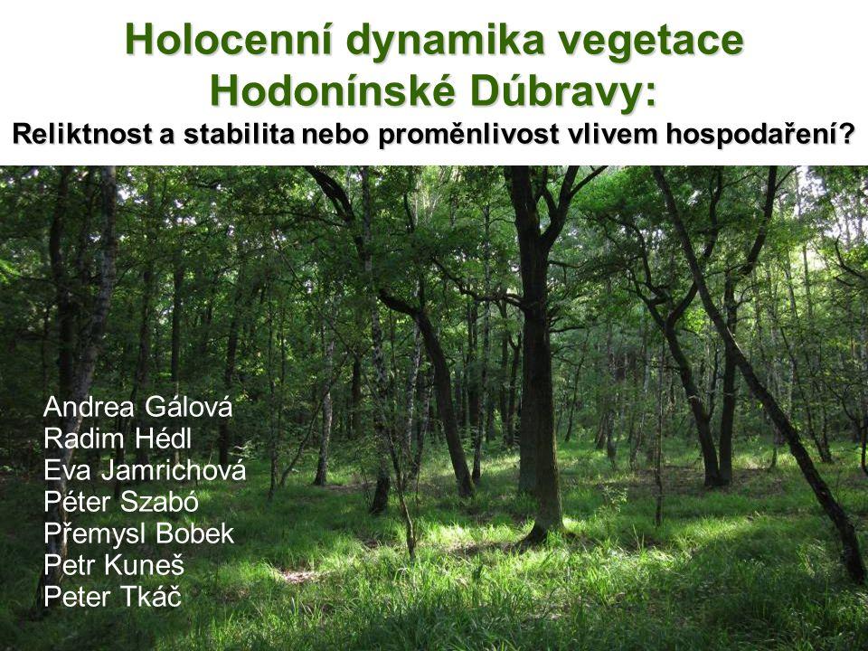Holocenní dynamika vegetace Hodonínské Dúbravy: Reliktnost a stabilita nebo proměnlivost vlivem hospodaření? Andrea Gálová Radim Hédl Eva Jamrichová P