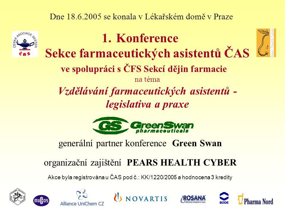 generální partner konference Green Swan organizační zajištění PEARS HEALTH CYBER Akce byla registrována u ČAS pod č.: KK/1220/2005 a hodnocena 3 kredity Dne 18.6.2005 se konala v Lékařském domě v Praze 1.Konference Sekce farmaceutických asistentů ČAS ve spolupráci s ČFS Sekcí dějin farmacie na téma Vzdělávání farmaceutických asistentů - legislativa a praxe