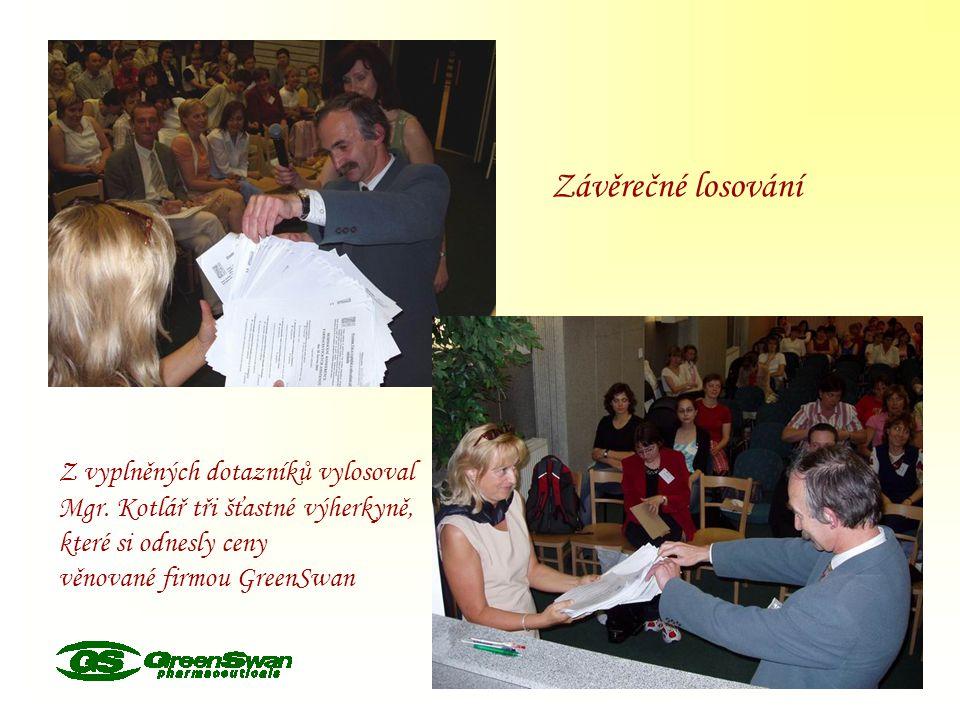 Závěrečné losování Z vyplněných dotazníků vylosoval Mgr. Kotlář tři šťastné výherkyně, které si odnesly ceny věnované firmou GreenSwan
