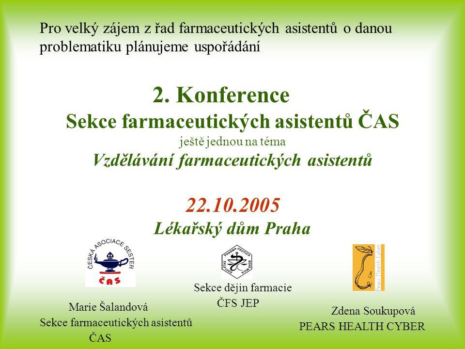 Marie Šalandová Sekce farmaceutických asistentů ČAS Sekce dějin farmacie ČFS JEP Pro velký zájem z řad farmaceutických asistentů o danou problematiku plánujeme uspořádání 2.
