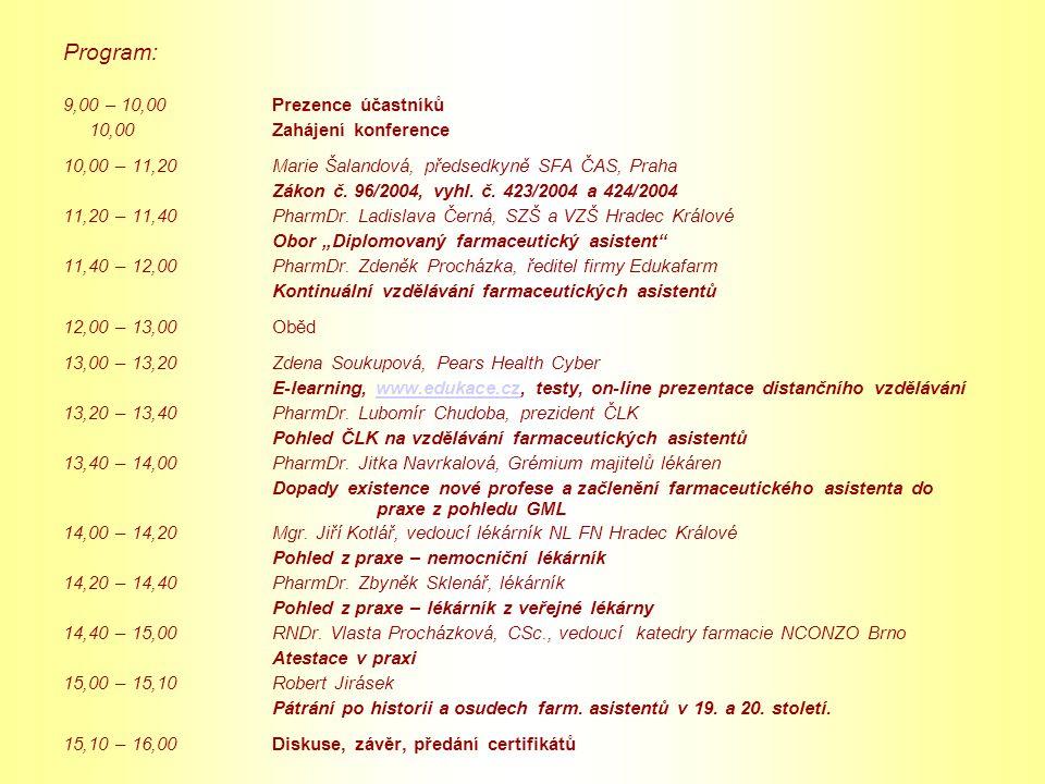 Program: 9,00 – 10,00 Prezence účastníků 10,00Zahájení konference 10,00 – 11,20Marie Šalandová, předsedkyně SFA ČAS, Praha Zákon č. 96/2004, vyhl. č.