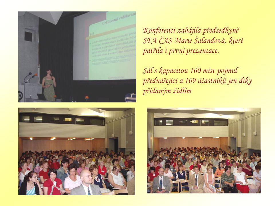 Konferenci zahájila předsedkyně SFA ČAS Marie Šalandová, které patřila i první prezentace. Sál s kapacitou 160 míst pojmul přednášející a 169 účastník