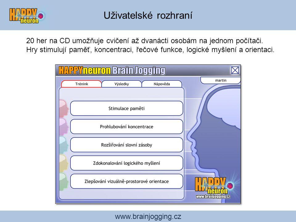 www.brainjogging.cz Uživatelské rozhraní 20 her na CD umožňuje cvičení až dvanácti osobám na jednom počítači. Hry stimulují paměť, koncentraci, řečové