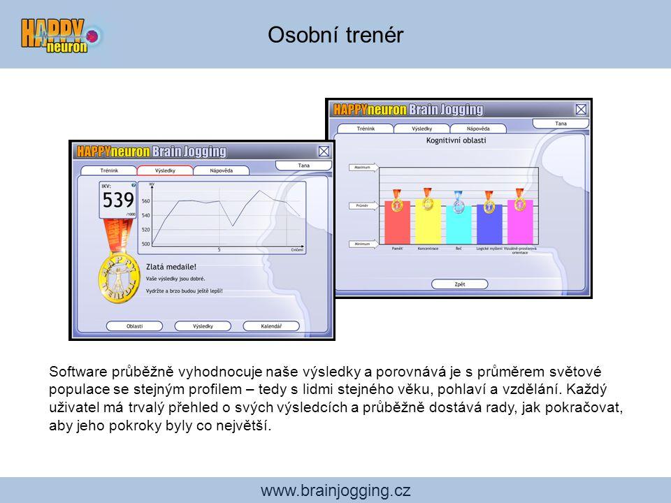 www.brainjogging.cz Osobní trenér Software průběžně vyhodnocuje naše výsledky a porovnává je s průměrem světové populace se stejným profilem – tedy s