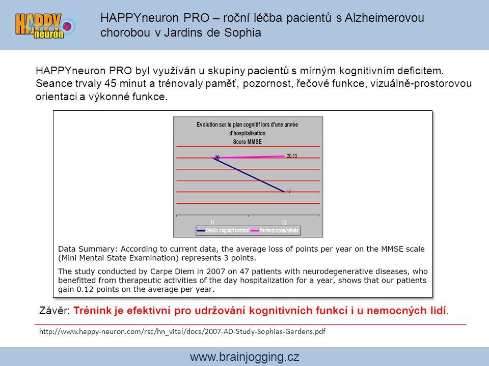 www.brainjogging.cz HAPPYneuron PRO – roční léčba pacientů s Alzheimerovou chorobou v Jardins de Sophia HAPPYneuron PRO byl využíván u skupiny pacient