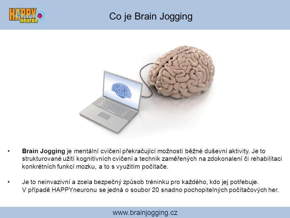 www.brainjogging.cz Osobní trenér Software průběžně vyhodnocuje naše výsledky a porovnává je s průměrem světové populace se stejným profilem – tedy s lidmi stejného věku, pohlaví a vzdělání.