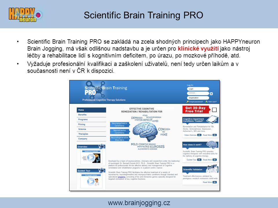 www.brainjogging.cz Scientific Brain Training PRO se zakládá na zcela shodných principech jako HAPPYneuron Brain Jogging, má však odlišnou nadstavbu a