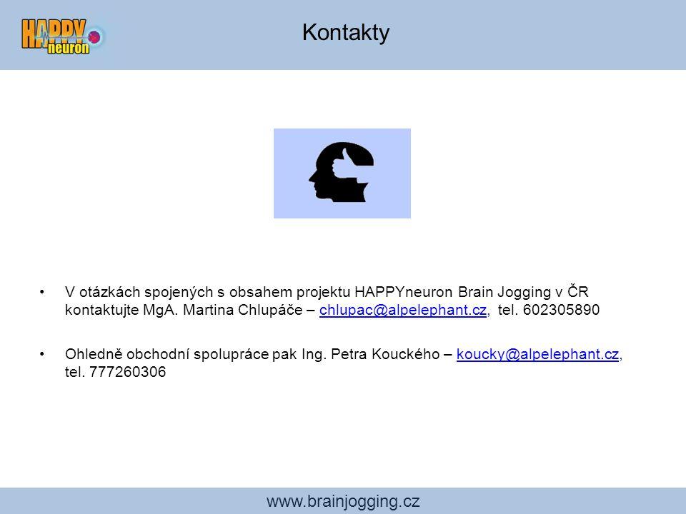 www.brainjogging.cz V otázkách spojených s obsahem projektu HAPPYneuron Brain Jogging v ČR kontaktujte MgA. Martina Chlupáče – chlupac@alpelephant.cz,