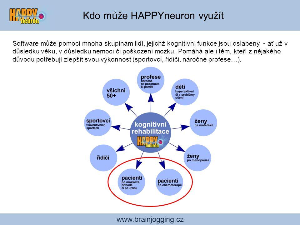 Studie účinnosti cvičení HAPPYneuron: = Nezávislé ověření, jak HAPPYneuron Brain Jogging zlepšuje kognitivní funkce www.brainjogging.cz On-line trénink: BrainGame www.braingame.cz Stejné hry jako na CD, ale přístupné on-line za měsíční poplatek 350 Kč.
