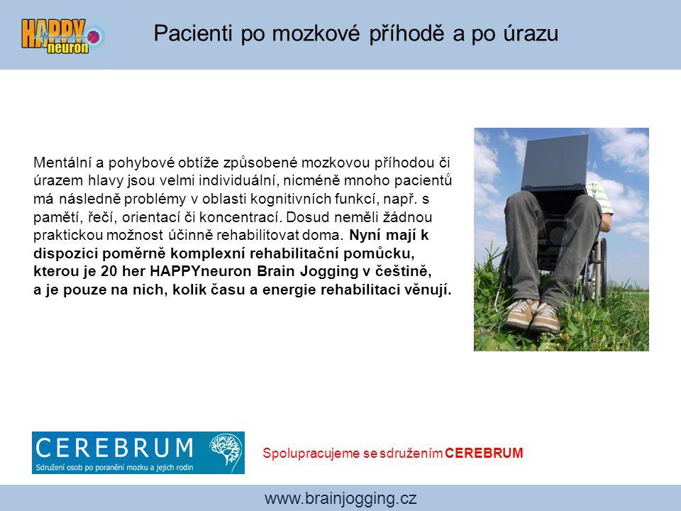 Pacienti s depresí www.brainjogging.cz Kognitivní počítačový trénink je s úspěchem používán k léčbě nebo jako doplněk medikace u osob s depresí.