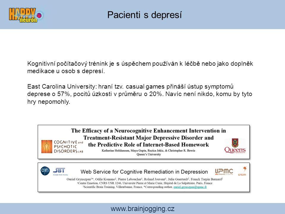 Pacienti s depresí www.brainjogging.cz Kognitivní počítačový trénink je s úspěchem používán k léčbě nebo jako doplněk medikace u osob s depresí. East