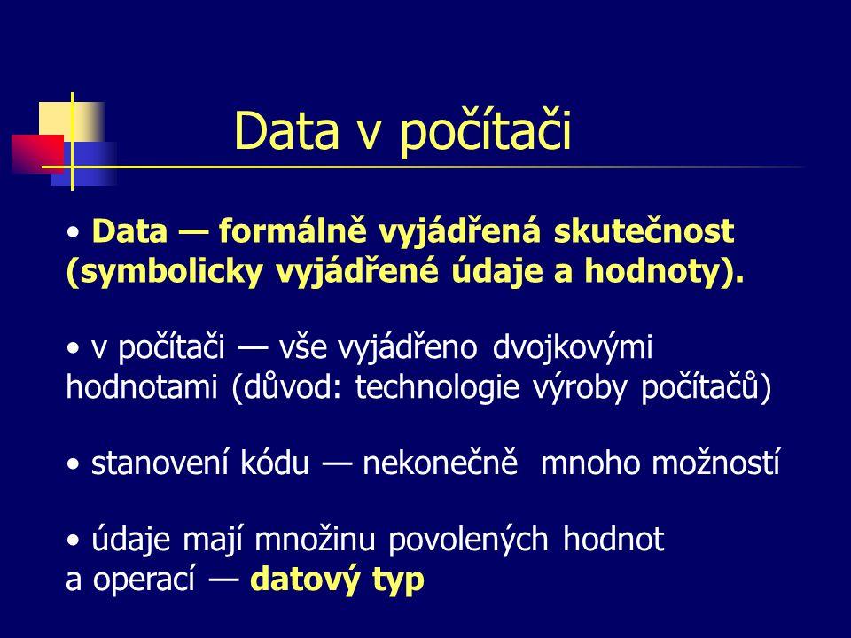 Data v počítači v počítači — vše vyjádřeno dvojkovými hodnotami (důvod: technologie výroby počítačů) Data — formálně vyjádřená skutečnost (symbolicky vyjádřené údaje a hodnoty).