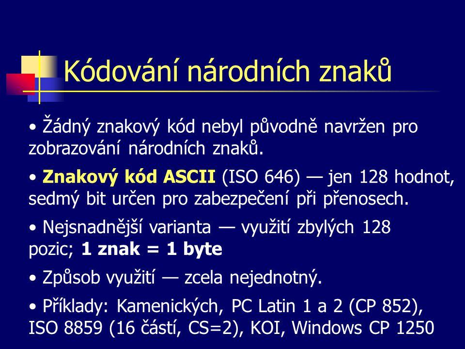 Kódování národních znaků Žádný znakový kód nebyl původně navržen pro zobrazování národních znaků.