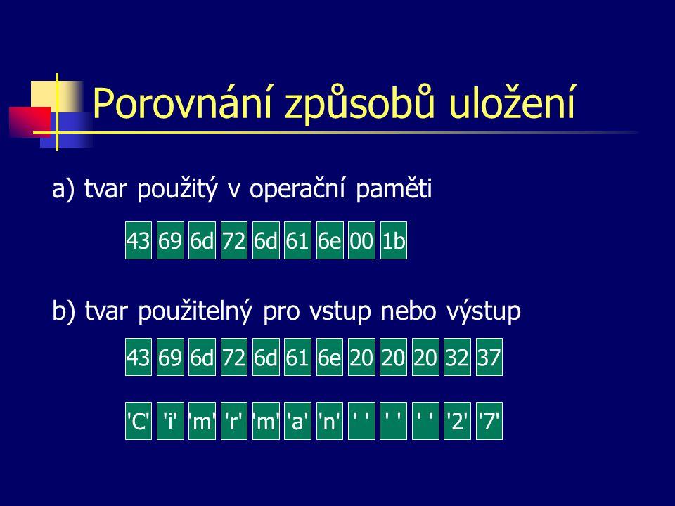 Formát dat V operační paměti jsou obvykle data ve tvaru vhodném pro zpracování (výpočty, řazení...) Viditelný tvar (tiskárna, displej, klávesnice...) musí být složen výhradně z čitelných (zobrazitelných) znaků Formát dat = způsob (tvar) uložení dat v jakékoliv paměti počítače.