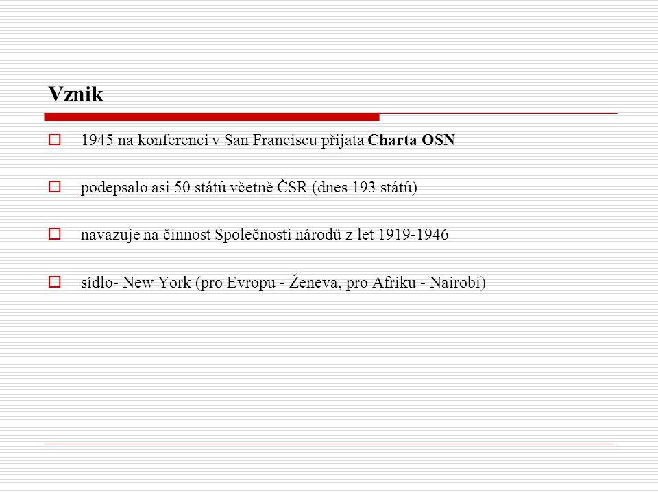 Vznik  1945 na konferenci v San Franciscu přijata Charta OSN  podepsalo asi 50 států včetně ČSR (dnes 193 států)  navazuje na činnost Společnosti národů z let 1919-1946  sídlo- New York (pro Evropu - Ženeva, pro Afriku - Nairobi)