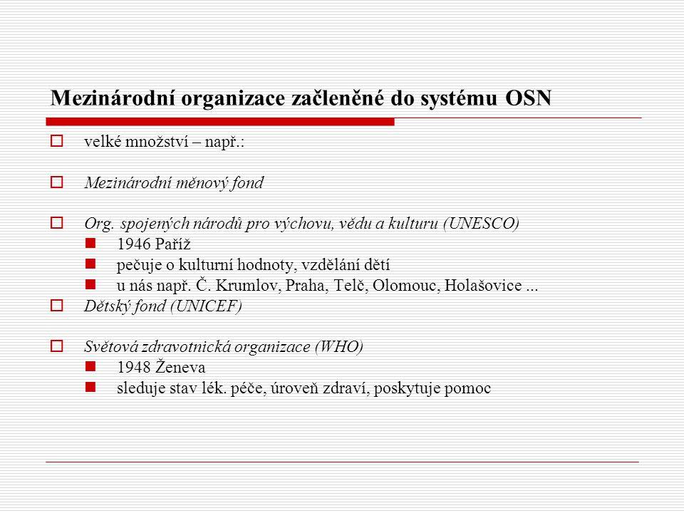 Mezinárodní organizace začleněné do systému OSN  velké množství – např.:  Mezinárodní měnový fond  Org.