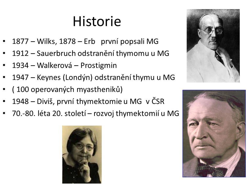 Historie 1877 – Wilks, 1878 – Erb první popsali MG 1912 – Sauerbruch odstranění thymomu u MG 1934 – Walkerová – Prostigmin 1947 – Keynes (Londýn) odst