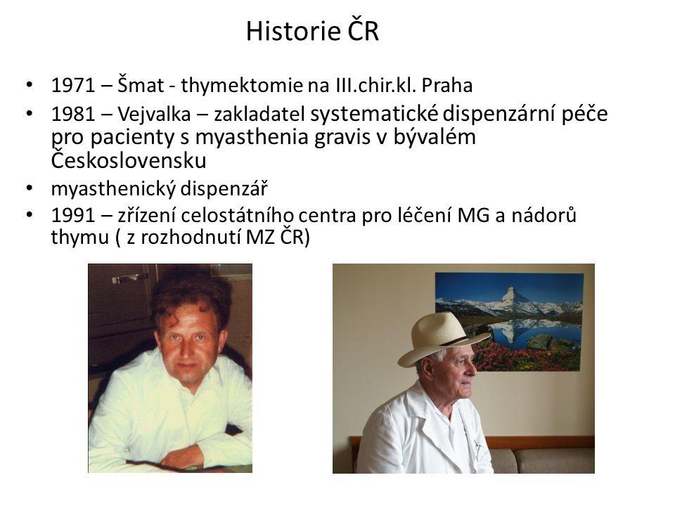Historie ČR 1971 – Šmat - thymektomie na III.chir.kl. Praha 1981 – Vejvalka – zakladatel systematické dispenzární péče pro pacienty s myasthenia gravi