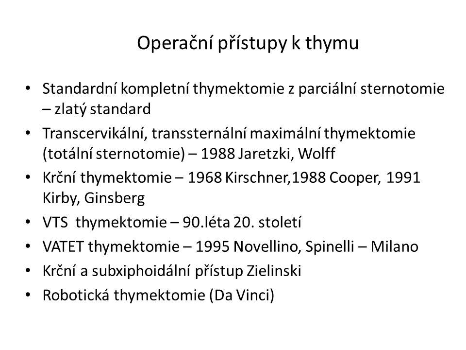 Operační přístupy k thymu Standardní kompletní thymektomie z parciální sternotomie – zlatý standard Transcervikální, transsternální maximální thymekto