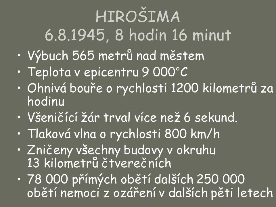 HIROŠIMA 6.8.1945, 8 hodin 16 minut Výbuch 565 metrů nad městem Teplota v epicentru 9 000°C Ohnivá bouře o rychlosti 1200 kilometrů za hodinu Všeničíc