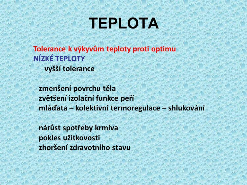 TEPLOTA Tolerance k výkyvům teploty proti optimu NÍZKÉ TEPLOTY vyšší tolerance zmenšení povrchu těla zvětšení izolační funkce peří mláďata – kolektivn