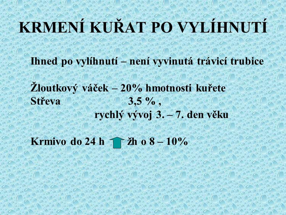 KRMENÍ KUŘAT PO VYLÍHNUTÍ Ihned po vylíhnutí – není vyvinutá trávicí trubice Žloutkový váček – 20% hmotnosti kuřete Střeva 3,5 %, rychlý vývoj 3. – 7.