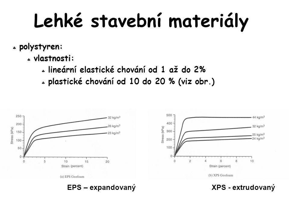  polystyren:  vlastnosti:  lineární elastické chování od 1 až do 2%  plastické chování od 10 do 20 % (viz obr.) Lehké stavební materiály EPS – exp