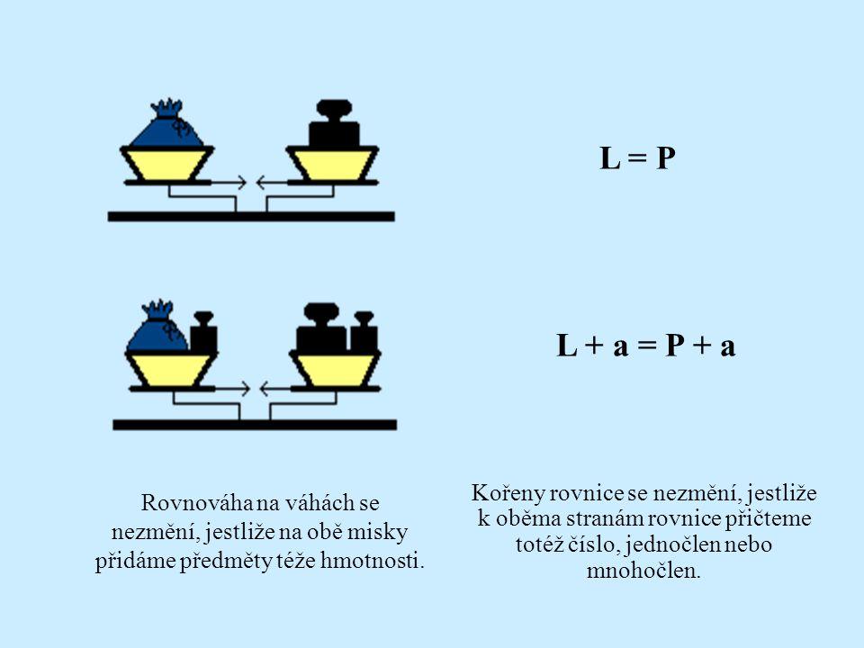 Jaké úkony s váhami můžeme provádět, aby zůstaly v rovnováze? Rovnováha na váhách se nezmění, jestliže vyměníme obsah jednotlivých misek Kořeny rovnic
