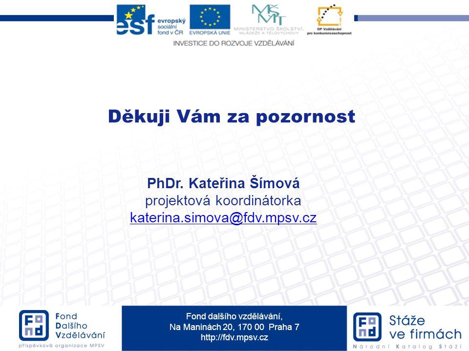 Fond dalšího vzdělávání, Na Maninách 20, 170 00 Praha 7 http://fdv.mpsv.cz Děkuji Vám za pozornost PhDr.