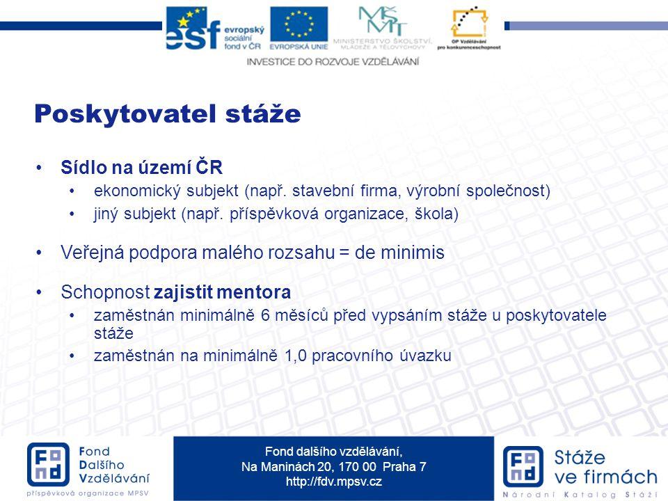 Fond dalšího vzdělávání, Na Maninách 20, 170 00 Praha 7 http://fdv.mpsv.cz Sídlo na území ČR ekonomický subjekt (např.