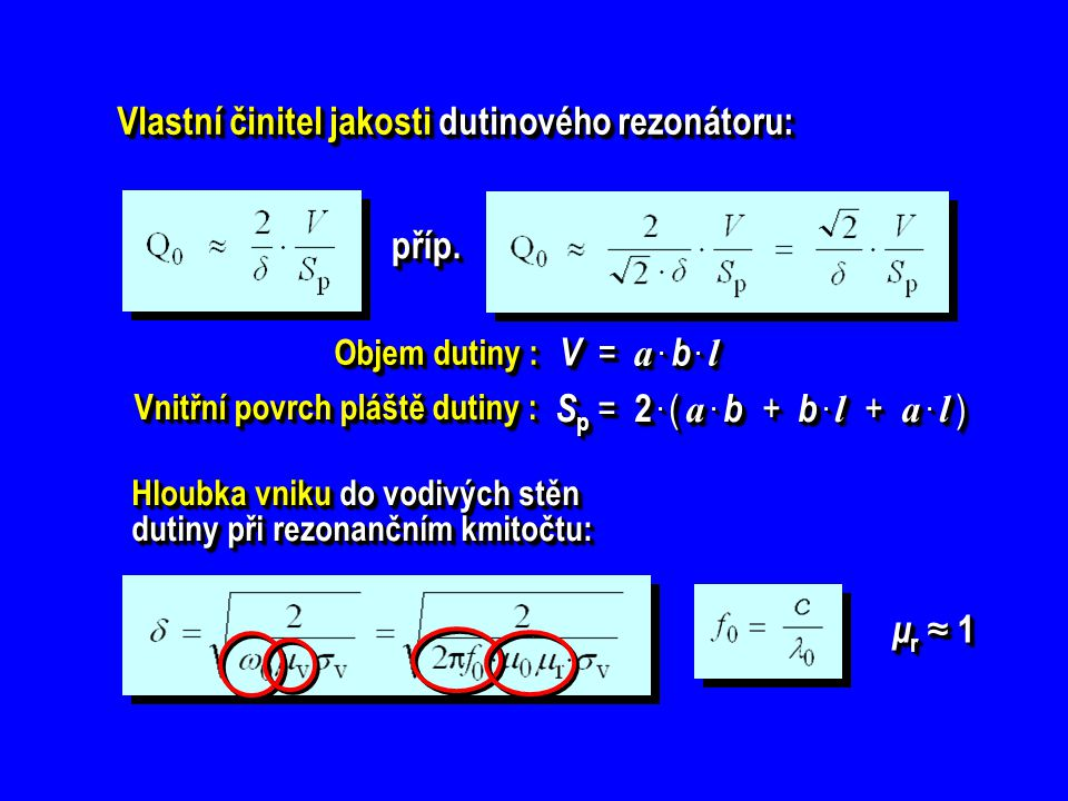 Vlastní činitel jakosti dutinového rezonátoru: příp.příp. Hloubka vniku do vodivých stěn dutiny při rezonančním kmitočtu: μr ≈ 1μr ≈ 1μr ≈ 1μr ≈ 1 μr