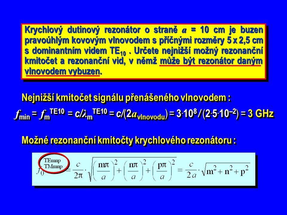 Krychlový dutinový rezonátor o straně a = 10 cm je buzen pravoúhlým kovovým vlnovodem s příčnými rozměry 5 x 2,5 cm s dominantním videm TE 10. Určete