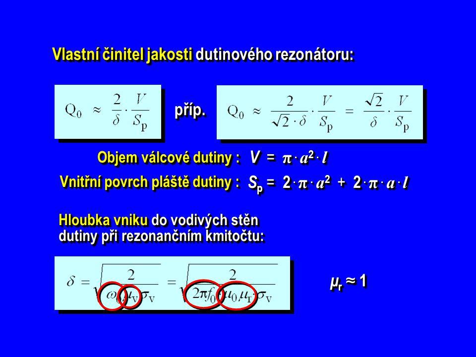 Určete přibližnou velikost činitele jakosti vidu TEM v ko- axiálním dutinovém rezonátoru (průměry vodičů 2 R 0 = 5 cm, 2 r 0 = 1,5 cm) při rezonanční vlnové délce λ 0 = 20 cm.