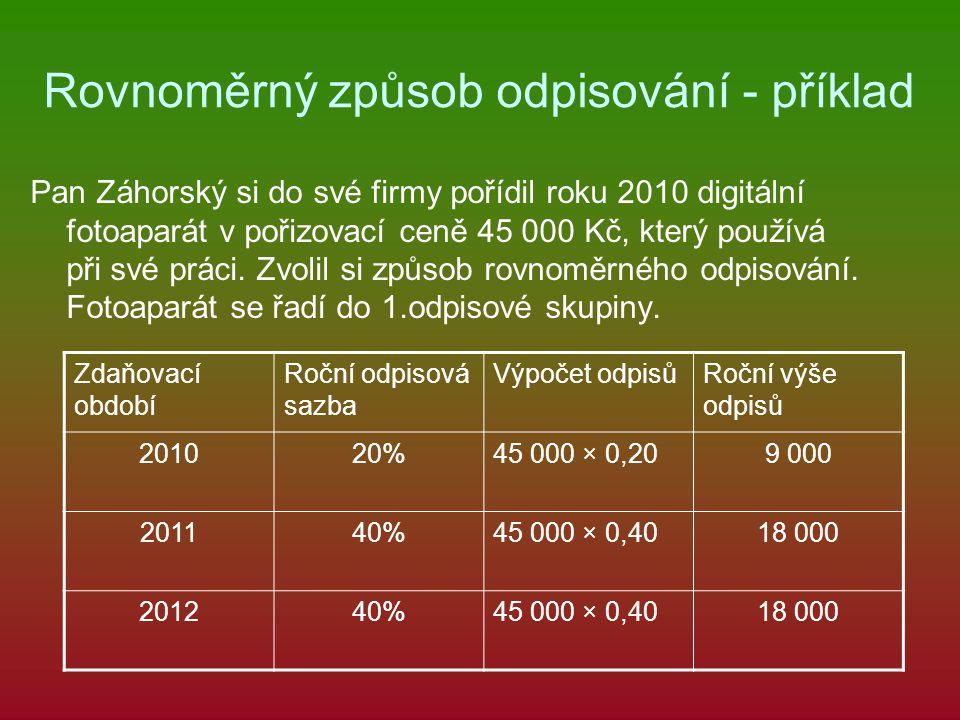 Rovnoměrný způsob odpisování - příklad Pan Záhorský si do své firmy pořídil roku 2010 digitální fotoaparát v pořizovací ceně 45 000 Kč, který používá