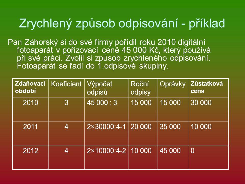 Zrychlený způsob odpisování - příklad Pan Záhorský si do své firmy pořídil roku 2010 digitální fotoaparát v pořizovací ceně 45 000 Kč, který používá p