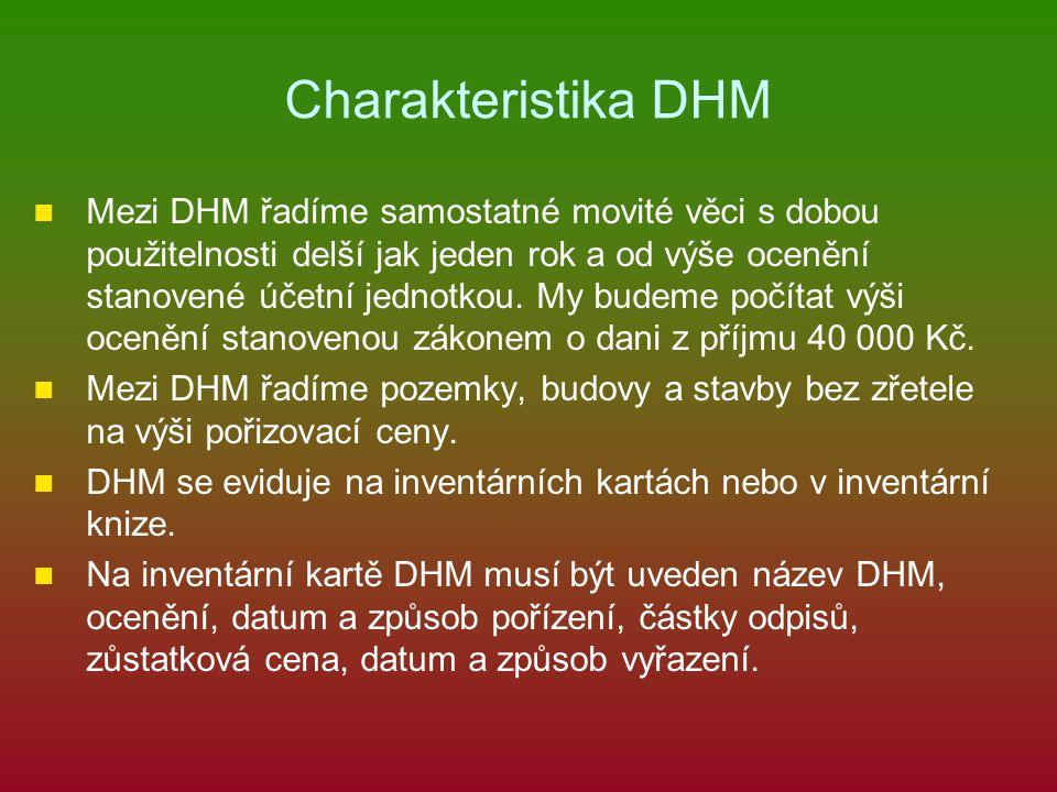 Charakteristika DHM Mezi DHM řadíme samostatné movité věci s dobou použitelnosti delší jak jeden rok a od výše ocenění stanovené účetní jednotkou. My