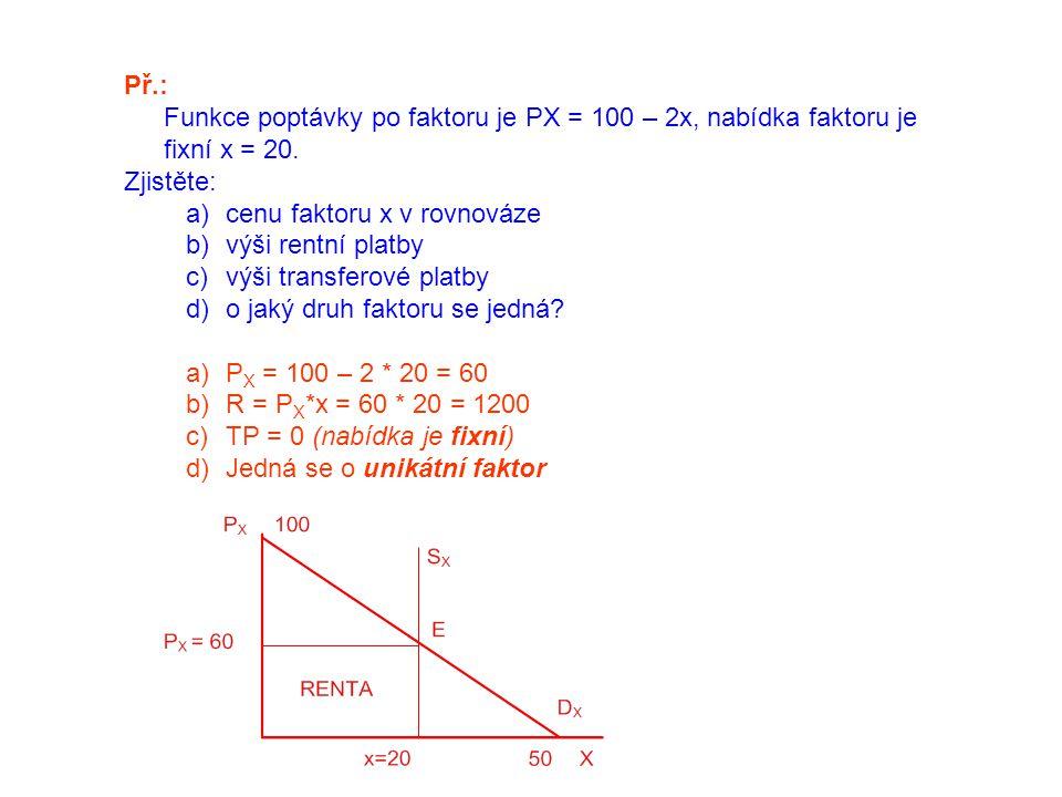 Př.: Funkce poptávky po faktoru je PX = 100 – 2x, nabídka faktoru je fixní x = 20. Zjistěte: a)cenu faktoru x v rovnováze b)výši rentní platby c)výši