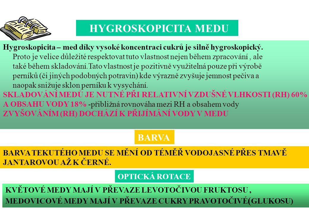 Hygroskopicita – med díky vysoké koncentraci cukrů je silně hygroskopický. Proto je velice důležité respektovat tuto vlastnost nejen během zpracování,