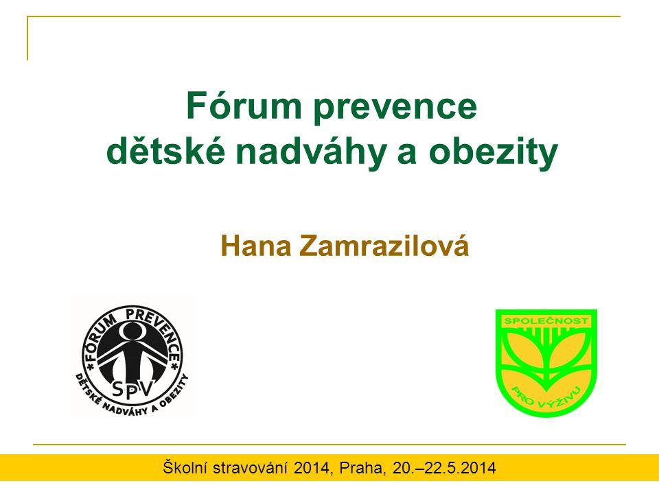 Fórum prevence dětské nadváhy a obezity Hana Zamrazilová Školní stravování 2014, Praha, 20.–22.5.2014