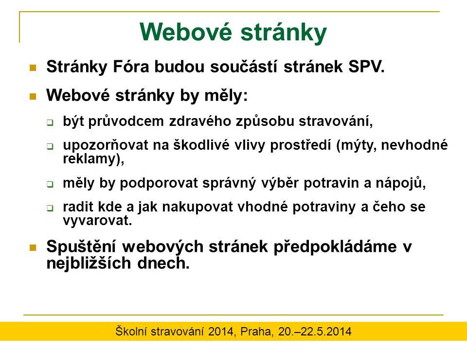Webové stránky Stránky Fóra budou součástí stránek SPV. Webové stránky by měly:  být průvodcem zdravého způsobu stravování,  upozorňovat na škodlivé
